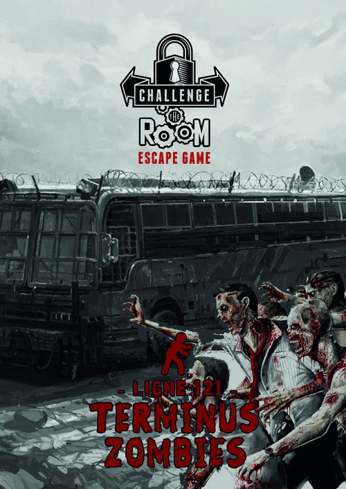 Affiche bus d'escape game Ligne 121 terminus zombis Challenge The Room